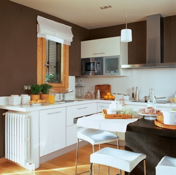 Bếp sẽ mát mẻ hơn với màu nâu và sự kết hợp của đồ dùng